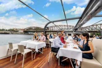 Lunch cruise on a glass boat in Prague